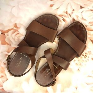 J. Crew leather brown sandals strappy cute size 7